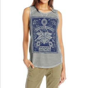 Lucky Brand blue stripped Namaste tank top large